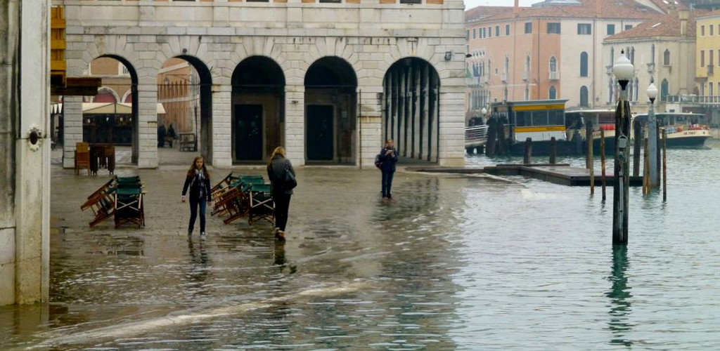 Morning Flooding Venice Italy